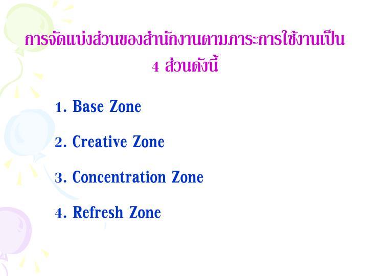 การจัดแบ่งส่วนของสำนักงานตามภาระการใช้งานเป็น 4 ส่วนดังนี้