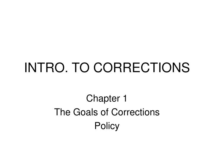 intro to corrections n.
