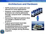 architecture and hardware