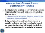 infrastructure community and sustainability finding
