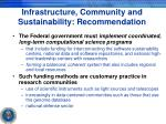 infrastructure community and sustainability recommendation