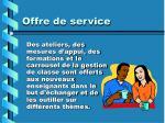 offre de service