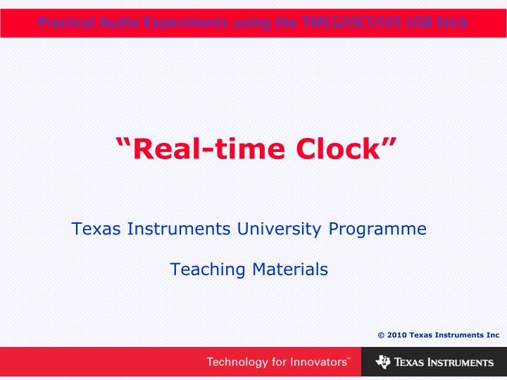 """PPT - """"Real-time Clock"""" PowerPoint Presentation - ID:5620492"""