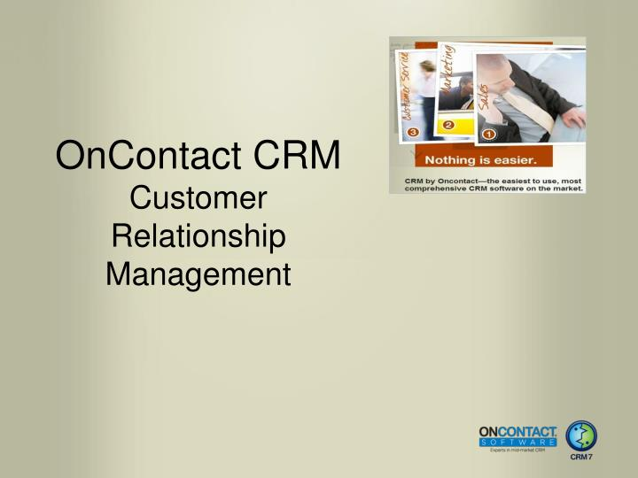 oncontact crm customer relationship management n.