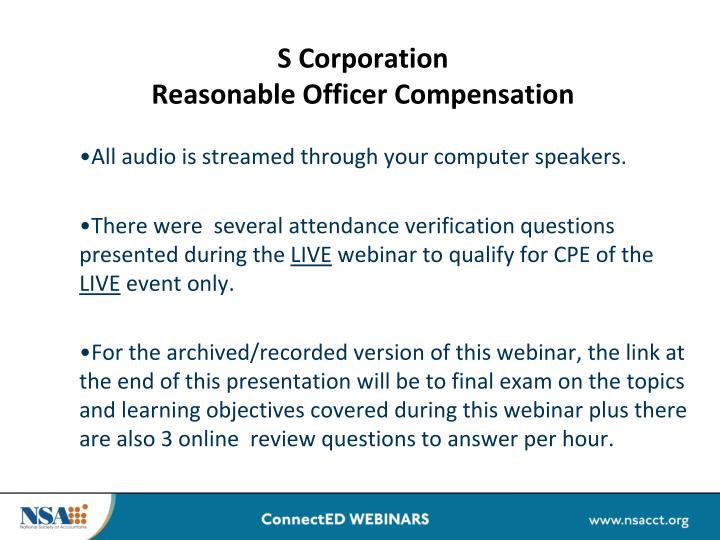 s corporation reasonable officer compensation n.