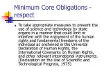 minimum core obligations respect