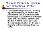 minimum potentially universal core obligations protect