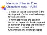 minimum universal core obligations cont fulfill