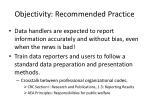 objectivity recommended practice