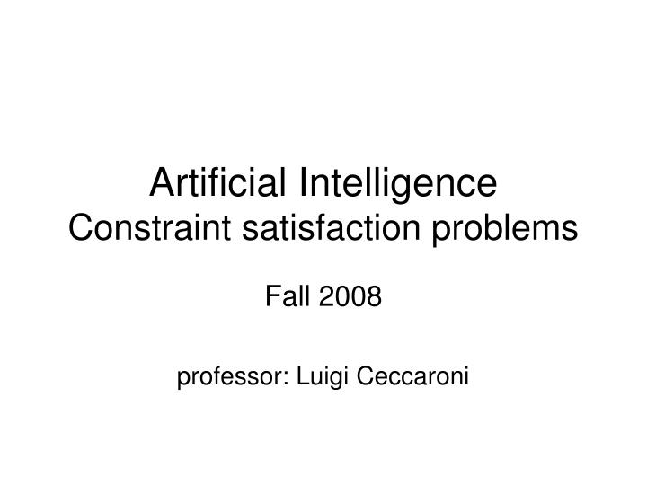 artificial intelligence constraint satisfaction problems n.