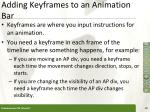 adding keyframes to an animation bar