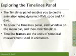 exploring the timelines panel