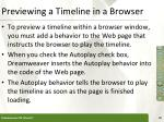 previewing a timeline in a browser