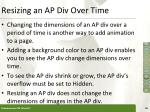 resizing an ap div over time