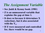 the assignment variable