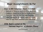 major accomplishments so far