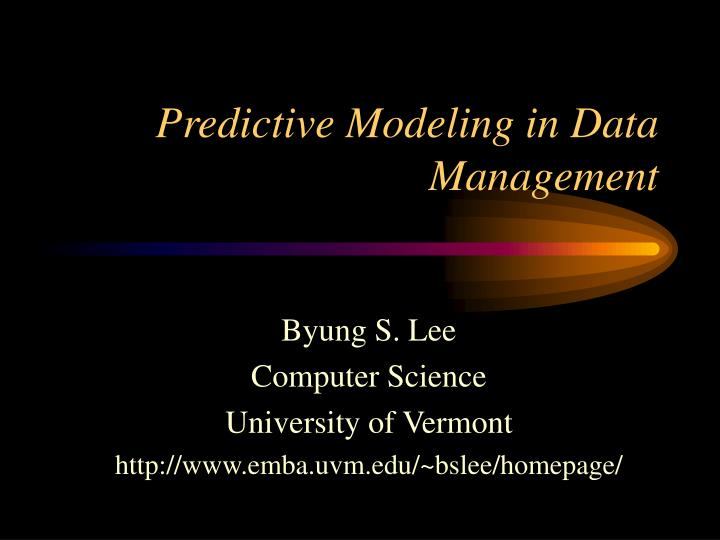 predictive modeling in data management n.
