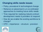 changing skills needs issues