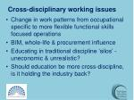 cross disciplinary working issues