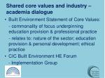 shared core values and industry academia dialogue