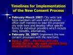 timelines for implementation of the new consent process