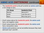 amino acid zwitterions continued