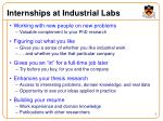 internships at industrial labs