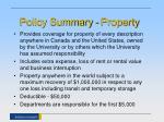 policy summary property