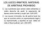 los jueces rbitros materias de arbitraje prohibido