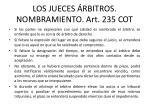 los jueces rbitros nombramiento art 235 cot