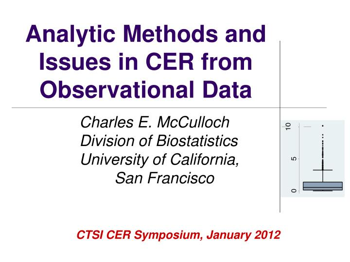analytic methods and issues in cer from observational data n.