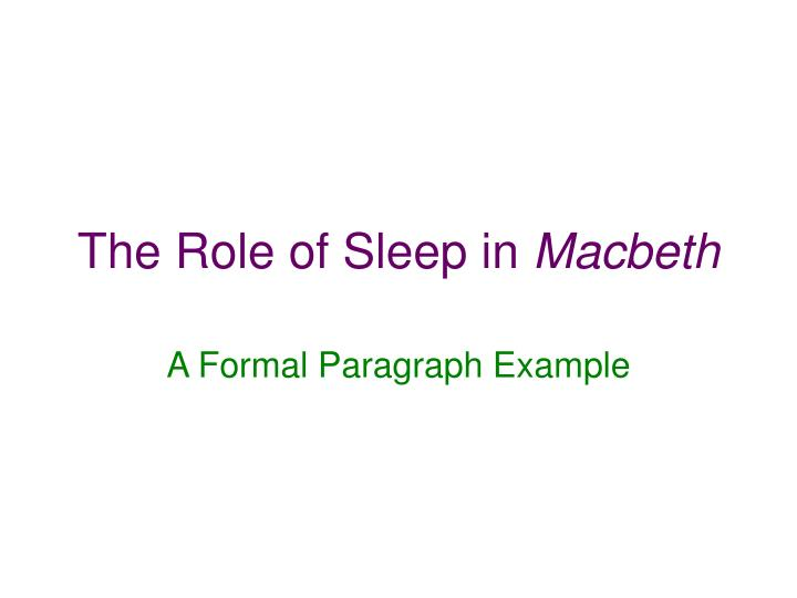 the role of sleep in macbeth n.