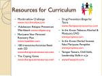 resources for curriculum