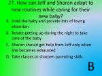 27 how can jeff and s haron adapt to new routines while caring for their new baby