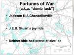 fortunes of war a k a dumb luck