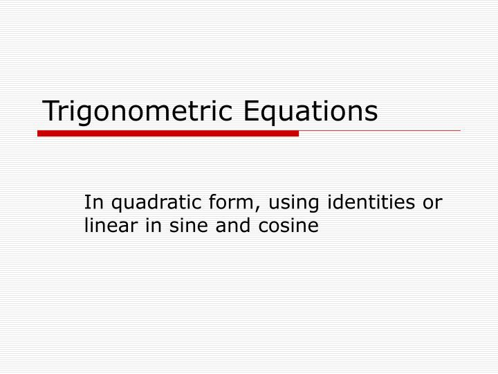 trigonometric equations n.