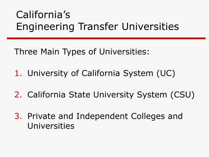california s engineering transfer universities n.