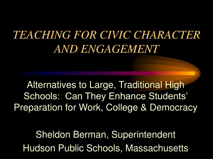 teaching for civic character and engagement n.