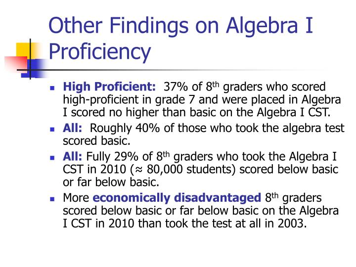 Other Findings on Algebra I Proficiency