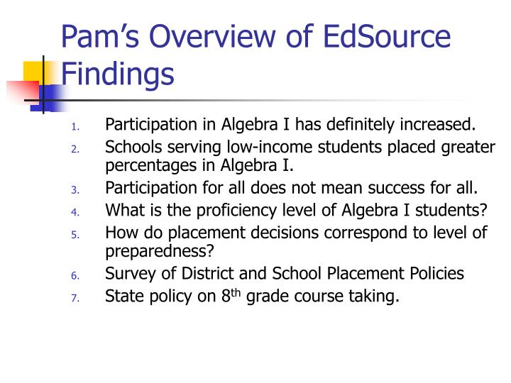 Pam's Overview of EdSource Findings