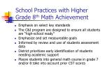 school practices with higher grade 8 th math achievement