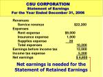 csu corporation statement of earnings for the year ended december 31 20063