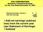 csu corporation statement of retained earnings for the year ended december 31 2001