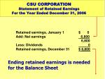 csu corporation statement of retained earnings for the year ended december 31 20063