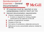 reimbursement of expenses general documentation