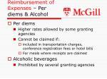 reimbursement of expenses per diems alcohol