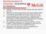 reimbursement of expenses requesting an advance