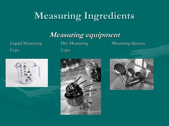 measuring ingredients n.