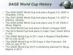 sage world cup history