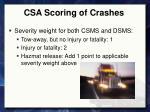 csa scoring of crashes